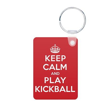 Keep Calm Play Kickball Aluminum Photo Keychain