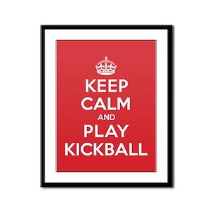 Keep Calm Play Kickball Framed Panel Print