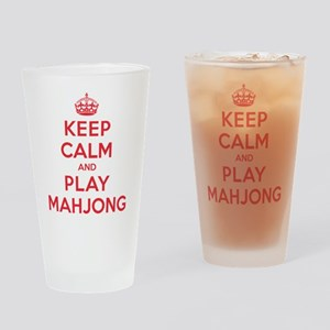 Keep Calm Play Mahjong Drinking Glass