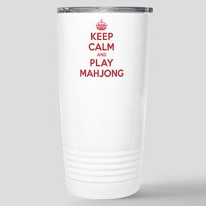 Keep Calm Play Mahjong Stainless Steel Travel Mug