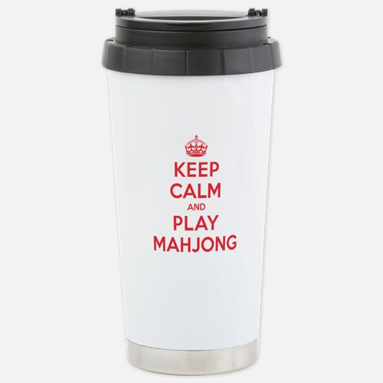 Keep Calm Play Mahjong Stainless Steel Travel Mug