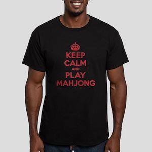 Keep Calm Play Mahjong Men's Fitted T-Shirt (dark)