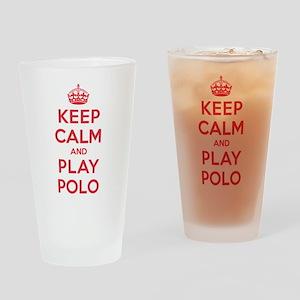 Keep Calm Play Polo Drinking Glass