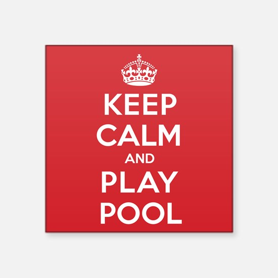 "Keep Calm Play Pool Square Sticker 3"" x 3"""