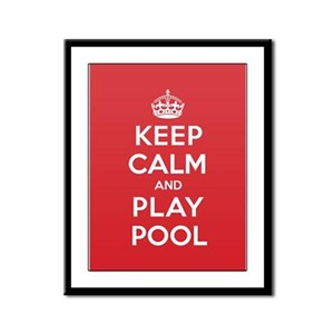 Keep Calm Play Pool Framed Panel Print