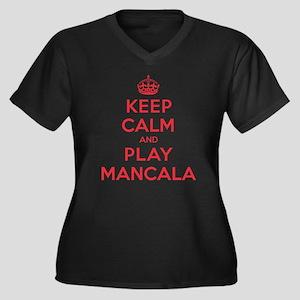 Keep Calm Play Mancala Women's Plus Size V-Neck Da