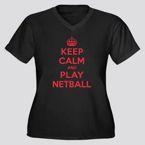 Keep Calm Play Netball Women's Plus Size V-Neck Da