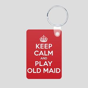 Keep Calm Play Old Maid Aluminum Photo Keychain
