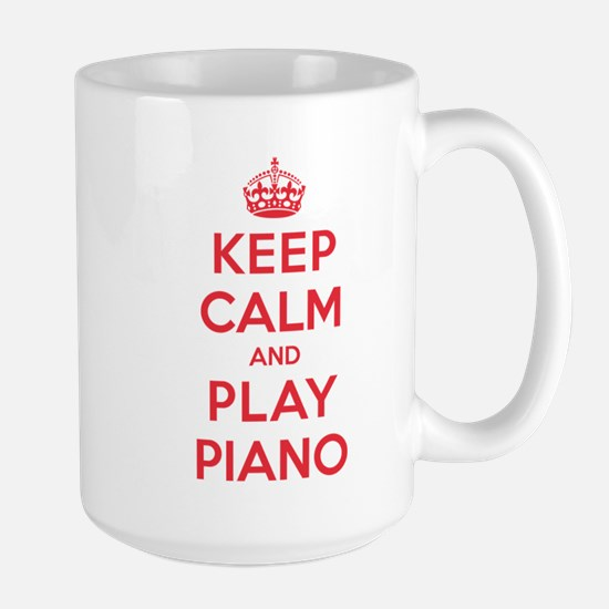 Keep Calm Play Piano Large Mug