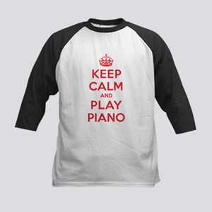 Keep Calm Play Piano Kids Baseball Jersey