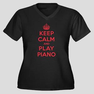 Keep Calm Play Piano Women's Plus Size V-Neck Dark