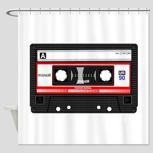 Cassette Black Shower Curtain