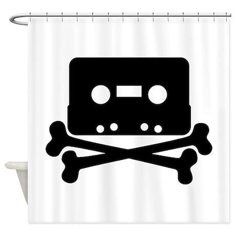 Cassette Jolly Roger Black Shower Curtain