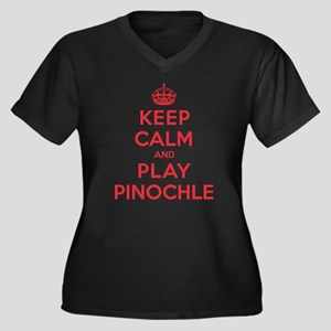 Keep Calm Play Pinochle Women's Plus Size V-Neck D