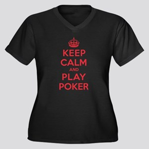 Keep Calm Play Poker Women's Plus Size V-Neck Dark