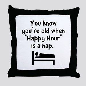 Happy Hour Nap Black Throw Pillow