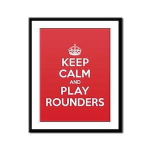 Keep Calm Play Rounders Framed Panel Print