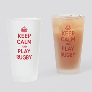 Keep Calm Play Rugby Drinking Glass