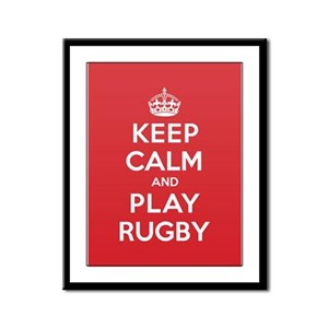 Keep Calm Play Rugby Framed Panel Print