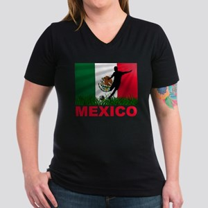 Mexico World Cup Soccer Women's V-Neck Dark T-Shir