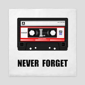 Never Forget Cassette Black Queen Duvet