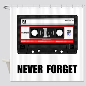 Never Forget Cassette Black Shower Curtain