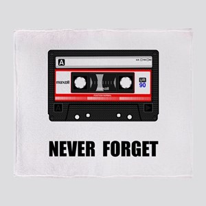 Never Forget Cassette Black Throw Blanket