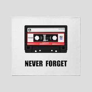 Never Forget Cassette Black Throw Blanket
