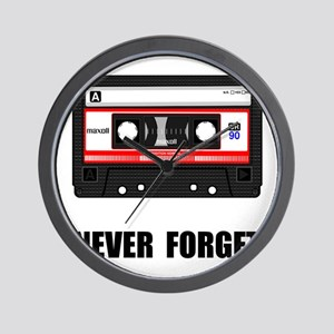 Never Forget Cassette Black Wall Clock