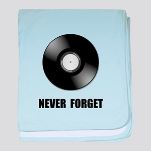 Never Forget Vinyl Black baby blanket