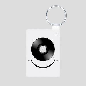Vinyl Smile Black Aluminum Photo Keychain