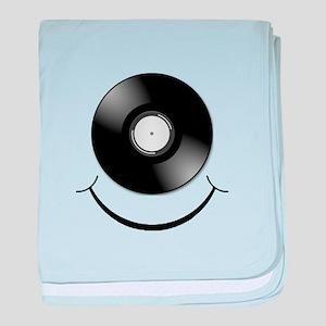 Vinyl Smile Black baby blanket