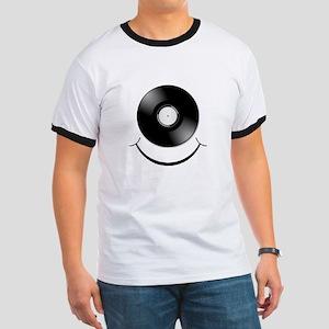 Vinyl Smile Black Ringer T