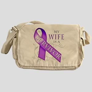 My Wife is a Survivor (purple) Messenger Bag
