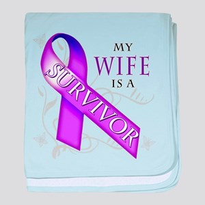 My Wife is a Survivor (purple) baby blanket