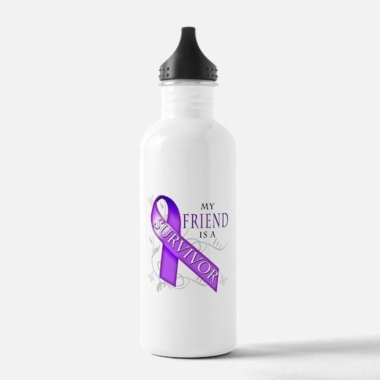 My Friend is a Survivor (purple).png Water Bottle