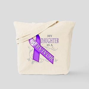 My Daughter is a Survivor (purple) Tote Bag