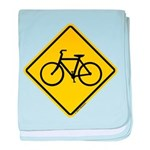 Bike Caution Sign baby blanket
