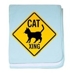 Cat Crossing Sign baby blanket