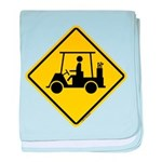 Golf Cart Caution Sign baby blanket