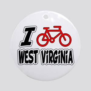 I Love Cycling West Virginia Ornament (Round)