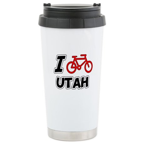 I Love Cycling Utah Stainless Steel Travel Mug