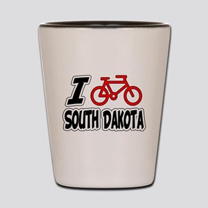 I Love Cycling South Dakota Shot Glass