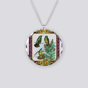 Buff Bellied Hummingbirds Necklace Circle Charm