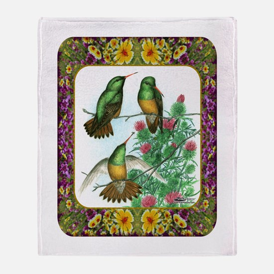 Buff Bellied Hummingbirds Throw Blanket