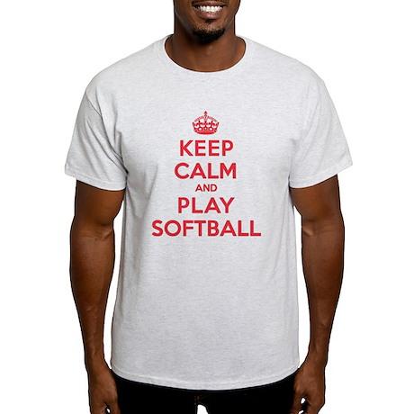 Keep Calm Play Softball Light T-Shirt