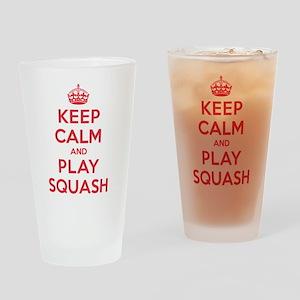 Keep Calm Play Squash Drinking Glass