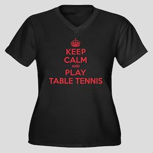 Keep Calm Play Table Tennis Women's Plus Size V-Ne