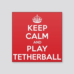 "Keep Calm Play Tetherball Square Sticker 3"" x 3"""