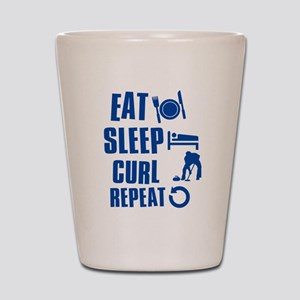 Eat Sleep Curl Shot Glass